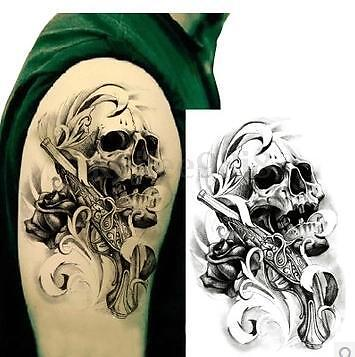 Cool Skull Design Waterproof Removable Temporary Tattoo Sticker Arm Leg Body Art