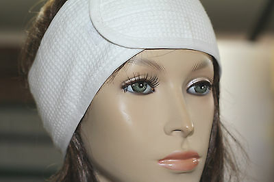 White Cotton Waffle headband, Salon/Spa Headband, hair band, Facial Make-up Wrap