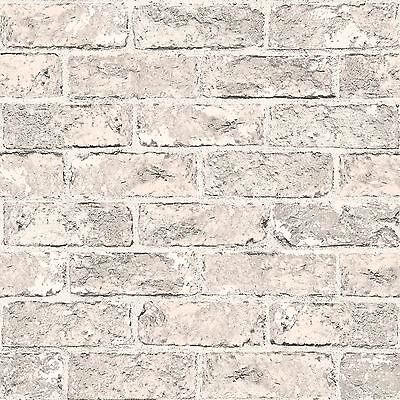 Taupe Grey & Black Brick Effect Wallpaper - 262925 Windsor Silver Beige New