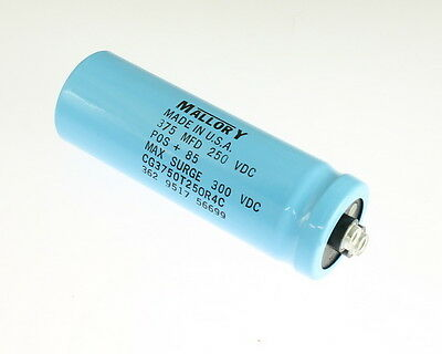 2x 340uF 250V Large Can Electrolytic Aluminum Capacitor 340mfd 250VDC 250 Volts