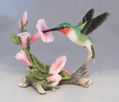 Hummingbird Figurine Ruby Throated Pink Flowers Sculpture New in Box Birds