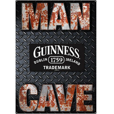 Guinness Man Cave Metal Sign Set Diamond Plate 3D Bar Decor Set of 2