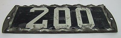 Antique Chip Glass 200 Sign tin backed frame reflective numbers architectural