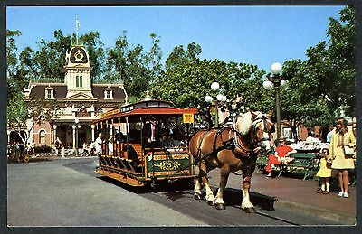 1960s DISNEYLAND MAIN STREET U.S.A. HORSE-DRAWN STREETCAR~UNUSED NM/MT+ POSTCARD