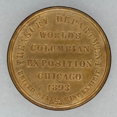 1893 Worlds Columbian Expo Chicago So Called Dollar Us Mint Exhibit Unc Details