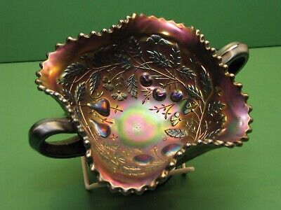 Carnival glass Northwood Fruits and Flowers footed Bon Bon Basketweave exterior