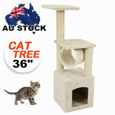36 inch Cat Scratching Post Tree Gym House Condo Furniture Scratcher Poles Large