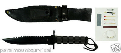 """12"""" Survival Hunting Knife W/ Sheath Compass Sharpening Stone and Survival Kit"""