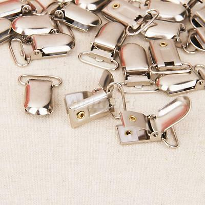 20pcs 20mm Metal Pacifier Paci Suspender Clips Holders Ribbon/Project Craft
