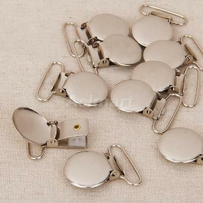10 Metal Round Pacifier Paci Suspender Clips Holders For Project Craft 2.5cm