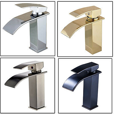 Bathroom Basin Faucet Waterfall Spout Vanity Sink Mixer Tap Single Handle
