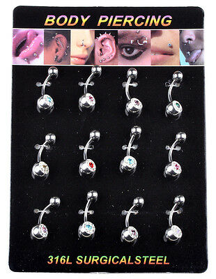 12PCS Wholesale Surgical Steel Navel Belly Rings Crystal Body Piercing Jewelry Q