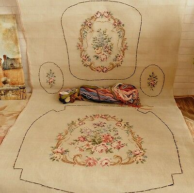 """63"""" Vintage Huge full set  Victorian Rose Tramme Needlepoint Canvas For Chair"""
