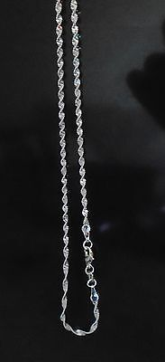 Pure Solid 925 Sterling Silver Singapore Rope Chain Necklace with Lobster Clasp