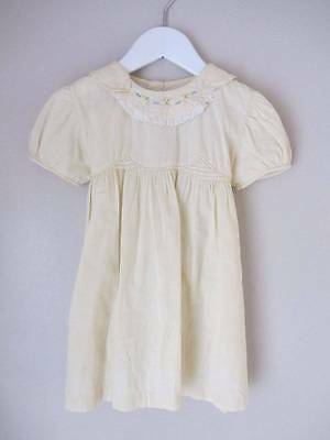 childrens vintage dress cream embroidery girls 18 months lace 1930's smocking