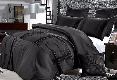 Queen / KING Florence black Quilt Cover Set / rich pleat pintuck doona Cover Set