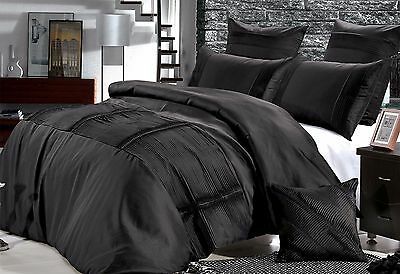 Super King / Queen Florence Black Quilt Cover Pleated pintuck Doona Cover option
