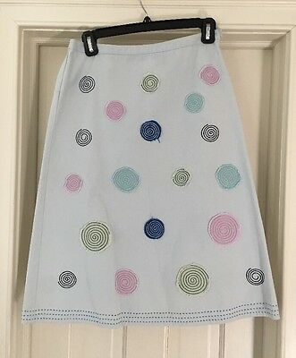 BODEN Women's Cotton A Line Skirt Appliqué Embroidery Light Blue Sz 8 EUC
