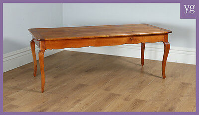 Antique French Cherry Fruit Wood Farmhouse Kitchen Refectory Dining Table c.1860