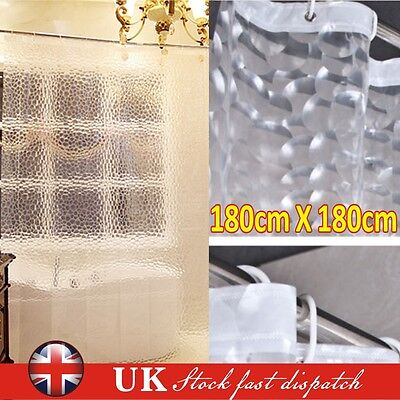 3D Thicker Clear PEVA Diamond Bath Shower Water Cube Curtain With Free 12 Hooks