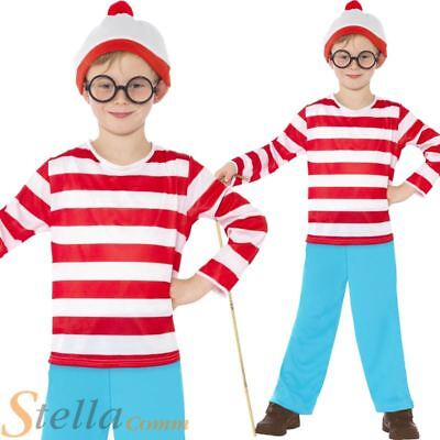 Boys Where's Wally Costume Book Week Day Fancy Dress Child Outfit Ages 4-12