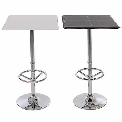 Table de bar / table haute Chicago, avec repose-pied, 63x63x110cm, noir / blanc