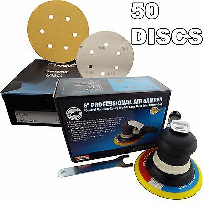 "150mm 6"" Professional Palm Air Sander 6mm Random Orbit Sanding + 50 Discs"