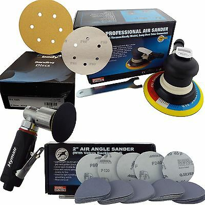 "150mm 6"" Professional Palm + 75mm 3"" Mini Angle Air DA Sander/Polisher + Discs"