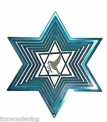 "Wind Spinner - Star of David - Outdoor/Indoor  - Stainless Steel - 12"" Across"