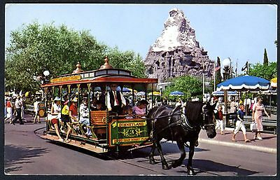 1960s DISNEYLAND MAIN STREET HORSE-DRAWN STREETCAR & MATTERHORN~UNUSED POSTCARD
