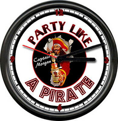 Captain Morgan Rum Party Like A Pirate Bar Alcohol Bartender Sign Wall Clock