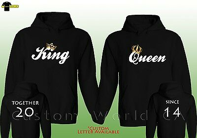 """Couple Custom Made Hoodie - """"Together Since"""" King & Queen Love Matching Hooded"""