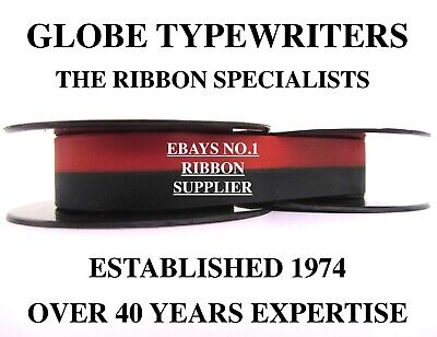 1 x 'UNDERWOOD 142' *BLACK/RED* TOP QUALITY *10 METRE* TYPEWRITER RIBBON+EYELETS