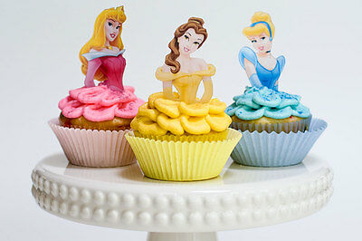 24/48/72pcs Disney Princess Cinderella Ariel Cupcake Toppers Girl Birthday Party
