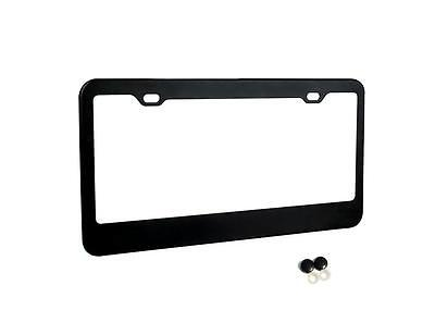 Matte Black Stainless Steel Metal License Plate Frame+Screw Caps Tag Cover