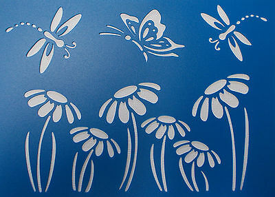 Scrapbooking - STENCILS TEMPLATES MASKS Sheet - Dragonfly and Flower Stencil