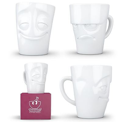 Tassen White Porcelain Mugs with Handle Cute and Expressive 350ml