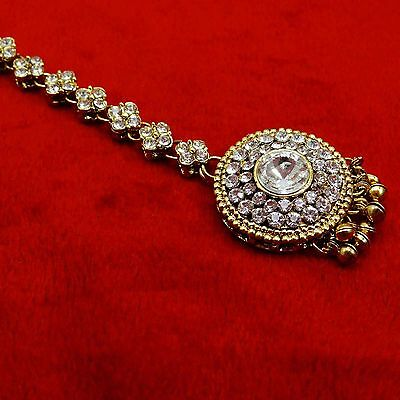 Ethnic Indian Maang Tikka Goldtone Forehead Jewelry Bollywood Party Accessory