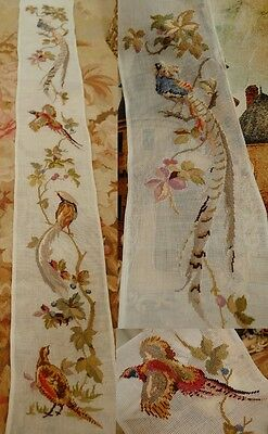 """54"""" HUGE long PREWORKED Needlepoint Canvas - Beautiful Pheasant Bell Pull"""
