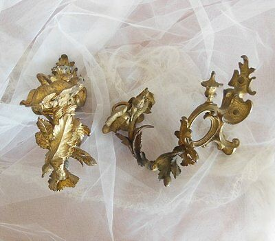 2 ANTIQUE FRENCH BRONZE CHATEAU CURTAIN TIE BACK HOOK Flowers 7.180 lb