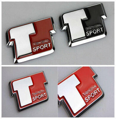 1Pcs Car Red T Sport Metal Auto Trunk Lid Sticker Badge Emblem Decoration