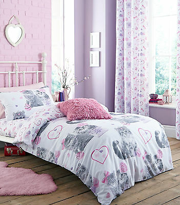 Catherine Lansfield Pretty Kitty kids/Girls Quilt/Duvet Cover BedSet Cotton Rich