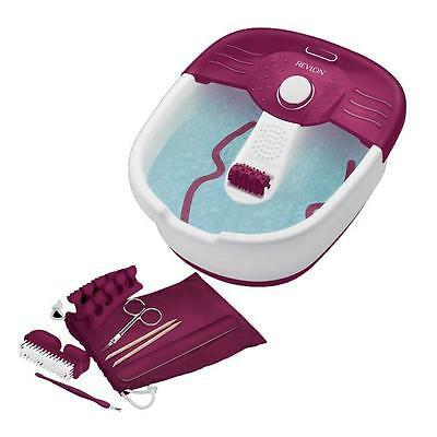 Revlon RVFB7021PUK Relaxing Bubbling Massage Pediprep Foot Spa And Nail Care Set
