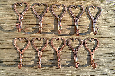 10 small solid copper Shaker heart hook American folk art wall door coathook
