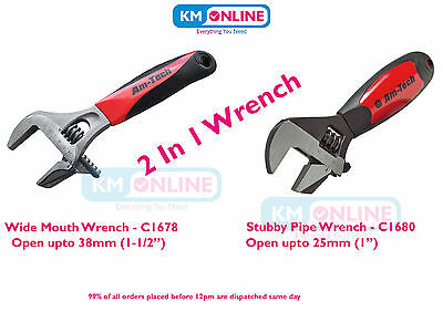 2 In 1 Wide Mouth / Stubby Adjustable Spanner Pipe Wrench Drop Forged Steel DIY
