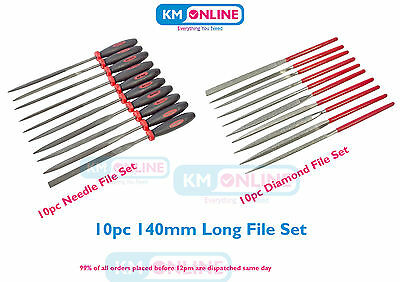 10pc Quality Needle File Set / Diamond File Set 140m Long Craft Hobby Garage DIY