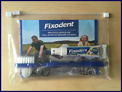 Fixodent Travel Size Kit With Double Headed Brush 10g Adhesive