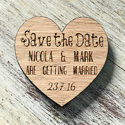 Heart Save The Date Wooden Magnets Wedding Personalised Fridge Magnet Invites