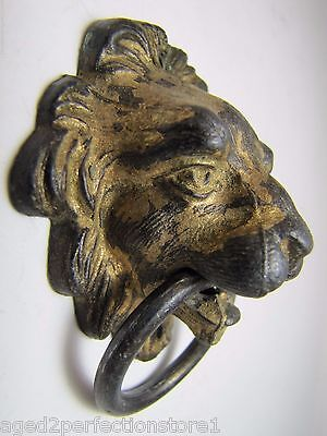 Antique Figural Lions Head Architecutral Hardware decorative drawer pull metal