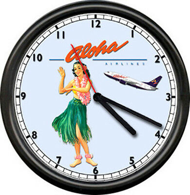 Aloha Airlines Hawaii Tickets Hawaiian Airplane Pilot Hula Girl Sign Wall Clock